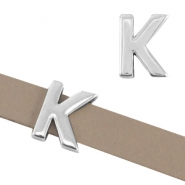 "DQ metal letter slider ""K"" Ø10.3x2.3mm Antique silver (nickel free)"