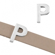 "DQ metal letter slider ""P"" Ø10.3x2.3mm Antique silver (nickel free)"