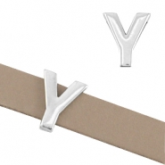 "DQ metal letter slider ""Y"" Ø10.3x2.3mm Antique silver (nickel free)"