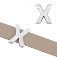 "DQ metal letter slider ""X"" Ø10.3x2.3mm Antique silver (nickel free)"