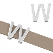 "DQ metal letter slider ""W"" Ø10.3x2.3mm Antique silver (nickel free)"
