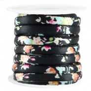 Trendy stitched flowered cord 6x4mm Black