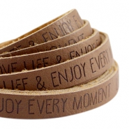 Flat faux 10mm leather with quote Love Life Rust brown