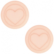 Flat Polaris cabochon heart 20mm matt Light vintage rose