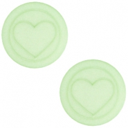 Flat Polaris cabochon heart 20mm matt Pastel green