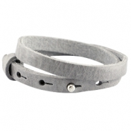 Double 8mm leather Cuoio bracelets for 12mm cabochon Natural grey