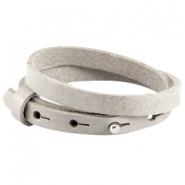Double 8mm leather Cuoio bracelets for 12mm cabochon Light grey