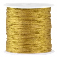 Macramé satin bead cord 0.8mm Golden khaki green