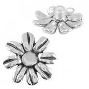 DQ metal flower Pin Antique silver (nickel free)