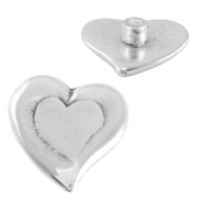 DQ metal heart Pin Antique silver (nickel free)
