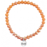 Top faceted bracelets 6x4mm Dark coral peach - half diamond gold coating