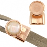 DQ metal end cap/clasp for 12mm cabochon ( for 2x5mm wire/leather) Rose gold (nickel free)