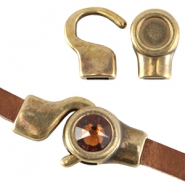 DQ metal setting/hook clasp for7mm cabochon and Swarovski SS34 (for 5mm flat leather) Antique bronze (nickel free)