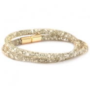 Double crystal faceted bracelets Gold - silver crystal