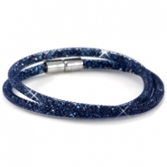 Double crystal faceted bracelets Midnight blue - montana