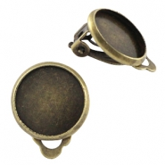 Metal earclip for 12mm cabochon Bronze