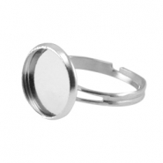Metal ring for 12mm cabochon Silver