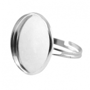 Metal ring for 20mm cabochon Silver