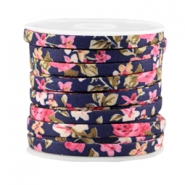 Trendy flat cord 5mm Dark blue - rose