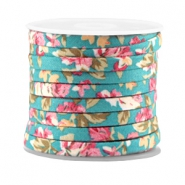 Trendy flat cord 5mm Blue turquoise - rose