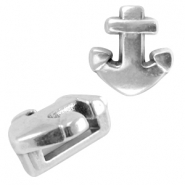 DQ metal anchor slider (for 5mm flat wire/leather) Antique silver (nickel free)