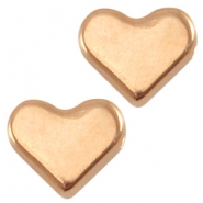 DQ metal heart shaped bead Rose gold (nickel free)