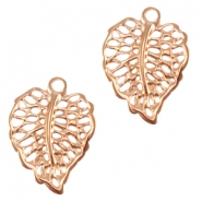 DQ metal charm / connector leaf Rose gold (nickel free)