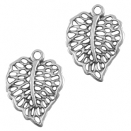 DQ metal charm / connector leaf Antique silver (nickel free)