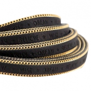 Faux quote leather with golden chain Wish Dream Believe 10mm Black