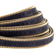 Faux quote leather with golden chain Wish Dream Believe 10mm Dark midnight blue