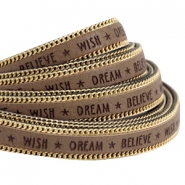 Faux quote leather with golden chain Wish Dream Believe 10mm Taupe grey