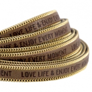 Faux quote leather with golden chain Love Life 10mm Taupe grey