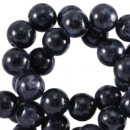 Round natural Jade stone beads 8mm Black anthracite