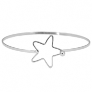 Metal bracelet with clasp star  Silver