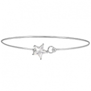 Metal bracelet with clasp star diamond Silver