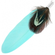 Duo feathers Light turquoise blue-brown
