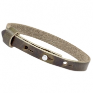 8mm Leather Cuoio bracelets for 12mm cabochon Dark grey olive