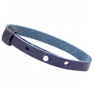 8mm Leather Cuoio bracelets for 12mm cabochon Strong blue