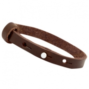 8mm Leather Cuoio bracelet for 12mm cabochon Dark brown