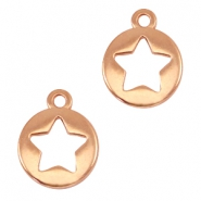 Round DQ metal charms with star Rose gold (nickel free)