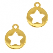 Round DQ metal charms with star Gold (nickel free)