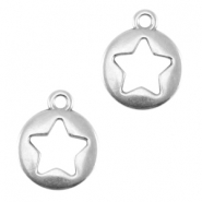 Round DQ metal charm with star Antique silver (nickel free)