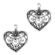 DQ metal charm heart Antique silver (nickel free)