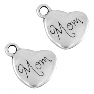 "DQ metal heart charm ""mom"" Antique silver (nickel free)"