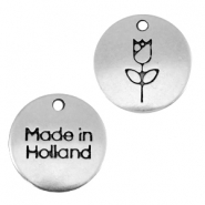 "DQ metal charm 12mm ""made in Holland""tulip Antique silver (nickel free)"