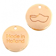 "DQ metal charms 12mm ""made in Holland"" wooden shoe Rose gold (nickel free)"