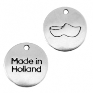 "DQ metal charm 12mm ""made in Holland""wooden shoe Antique silver (nickel free)"