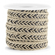 Flat braided waxed cord Camel beige - black