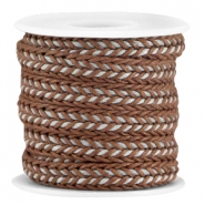 Flat braided waxed cord Brown - grey