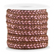 Flat braided waxed cord Brown - rose